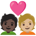 Couple with Heart: Person, Person, Dark Skin Tone, Medium-Light Skin Tone on Google Android 12.0