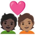 Couple with Heart: Person, Person, Dark Skin Tone, Medium Skin Tone on Google Android 12.0