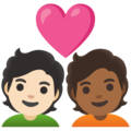 Couple with Heart: Person, Person, Light Skin Tone, Medium-Dark Skin Tone on Google Android 12.0