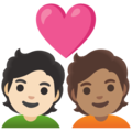 Couple with Heart: Person, Person, Light Skin Tone, Medium Skin Tone on Google Android 12.0