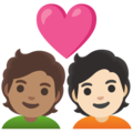 Couple with Heart: Person, Person, Medium Skin Tone, Light Skin Tone on Google Android 12.0