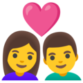Couple with Heart: Woman, Man on Google Android 12.0