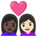 Couple with Heart: Woman, Woman, Dark Skin Tone, Light Skin Tone on Google Android 12.0