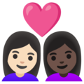 Couple with Heart: Woman, Woman, Light Skin Tone, Dark Skin Tone on Google Android 12.0