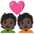 Couple with Heart: Dark Skin Tone on Google Android 12.0