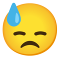 Downcast Face with Sweat on Google Android 12.0