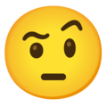 Face with Raised Eyebrow on Google Android 12.0