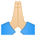 Folded Hands: Light Skin Tone on Google Android 12.0