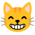 Grinning Cat with Smiling Eyes on Google Android 12.0
