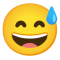Grinning Face with Sweat on Google Android 12.0