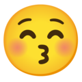 Kissing Face with Closed Eyes on Google Android 12.0