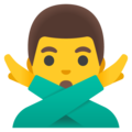 Man Gesturing No on Google Android 12.0