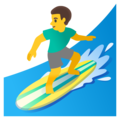 Man Surfing on Google Android 12.0