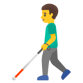 Man with White Cane on Google Android 12.0