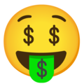 Money-Mouth Face on Google Android 12.0