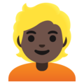Person: Dark Skin Tone, Blond Hair on Google Android 12.0