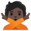 Person Gesturing No: Dark Skin Tone on Google Android 12.0
