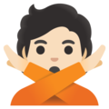 Person Gesturing No: Light Skin Tone on Google Android 12.0