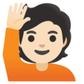 Person Raising Hand: Light Skin Tone on Google Android 12.0