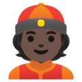 Person With Skullcap: Dark Skin Tone on Google Android 12.0