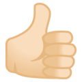 Thumbs Up: Light Skin Tone on Google Android 12.0