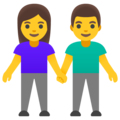 Woman and Man Holding Hands on Google Android 12.0