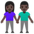 Woman and Man Holding Hands: Dark Skin Tone on Google Android 12.0