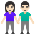 Woman and Man Holding Hands: Light Skin Tone on Google Android 12.0