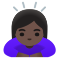 Woman Bowing: Dark Skin Tone on Google Android 12.0