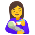 Woman Feeding Baby on Google Android 12.0