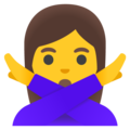 Woman Gesturing No on Google Android 12.0