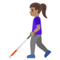 Woman with White Cane: Medium Skin Tone on Google Android 12.0