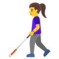 Woman with White Cane on Google Android 12.0