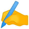 Writing Hand on Google Android 12.0