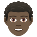 Man: Dark Skin Tone, Curly Hair on JoyPixels 5.5