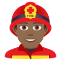 Man Firefighter: Medium-Dark Skin Tone on JoyPixels 5.5
