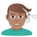 Man Getting Haircut: Medium Skin Tone on JoyPixels 5.5