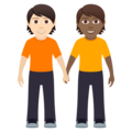 People Holding Hands: Light Skin Tone, Medium-Dark Skin Tone on JoyPixels 5.5