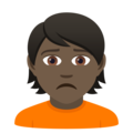 Person Frowning: Dark Skin Tone on JoyPixels 5.5