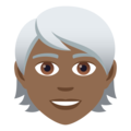 Person: Medium-Dark Skin Tone, White Hair on JoyPixels 5.5