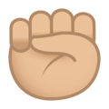 Raised Fist: Medium-Light Skin Tone on JoyPixels 5.5