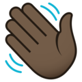 Waving Hand: Dark Skin Tone on JoyPixels 5.5