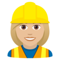 Woman Construction Worker: Medium-Light Skin Tone on JoyPixels 5.5