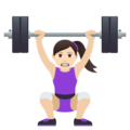 Woman Lifting Weights: Light Skin Tone on JoyPixels 5.5