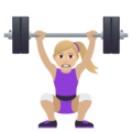 Woman Lifting Weights: Medium-Light Skin Tone on JoyPixels 5.5