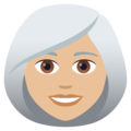 Woman: Medium-Light Skin Tone, White Hair on JoyPixels 5.5