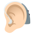 Ear with Hearing Aid: Light Skin Tone on JoyPixels 6.0
