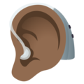 Ear with Hearing Aid: Medium-Dark Skin Tone on JoyPixels 6.0