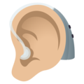 Ear with Hearing Aid: Medium-Light Skin Tone on JoyPixels 6.0