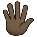 Hand with Fingers Splayed: Dark Skin Tone on JoyPixels 6.0